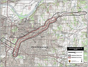 Second Battle of Independence - Map of Independence II Battlefield core and study areas by the American Battlefield Protection Program.
