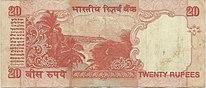 India P-089A 20 Rupees Gandhi 2002, reverse.jpg