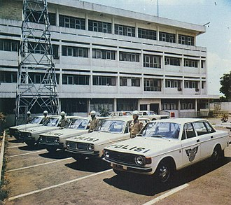 Automotive industry in Indonesia - Volvo 144's used as police cars (1976), a result of Liem's close relationship with the Indonesian government