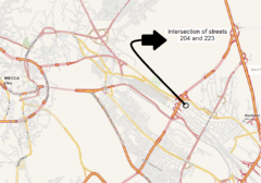 Intersection of streets 204 and 223 - 2015 Mina stampede.png