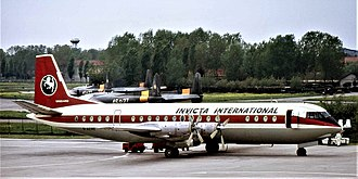 Vickers Vanguard - Invicta International Vanguard G-AZRE at Pisa Airport in 1974.