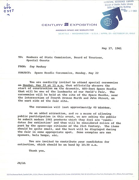 File:Invitation to Space Needle groundbreaking, 1961.jpg