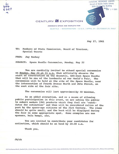 File Invitation To Space Needle Groundbreaking 1961 Jpg