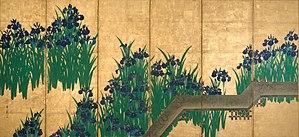 Ogata Kōrin - Image: Irises at Yatsuhashi (left)
