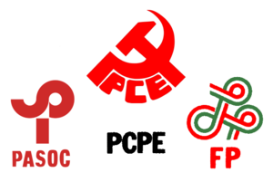 United Left (Spain) - United Left logo from 1986. It was composed of the logos of the parties that signed the coalition. It would not be until 1988 that a specific logo for IU would be designed.