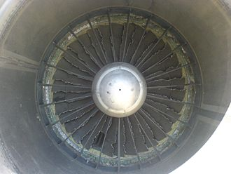 Bird strike - View of fan blades of Pratt & Whitney JT8D jet engine after a bird strike