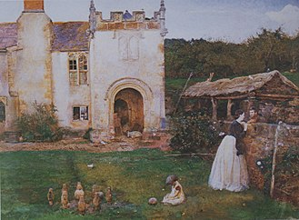 John William North - An Old Bowling Green (Halsway Manor, Somerset) (1865). Watercolour, British Museum, London.