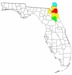 Map of Jacksonville metropolitan area