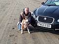 Jaguar XF S with Micha the Boxer Dog on Brean Sands (13928488939).jpg