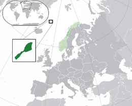 Location of Jan Mayen in relation to Norway