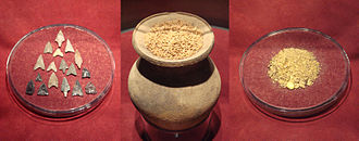 Commodity money - Japanese commodity money before the 8th century AD: arrowheads, rice grains and gold powder. This is the earliest form of Japanese currency.