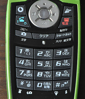 Mobile phone industry in Japan - A typical Japanese mobile phone keyboard