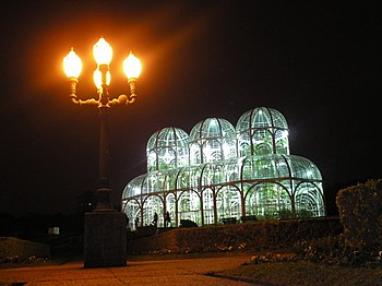 Greenhouses at night in the Botanical Garden o...