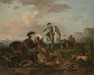 The Prince of Nassau hunting a jaguar.