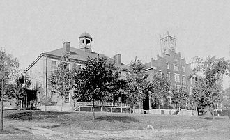 Washington & Jefferson College - Jefferson College campus in 1830, with West College on the left and Providence Hall on the right
