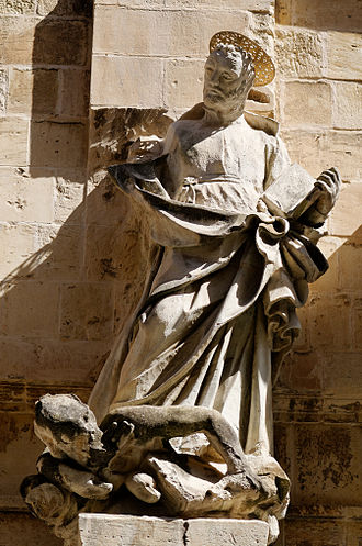 Church of the Jesuits, Valletta - Jesuit saint on the façade of the Jesuits' church