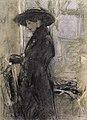 Jeune femme de profil avec un large chapeau noir 2007 CKS 07356 0644 .jpg