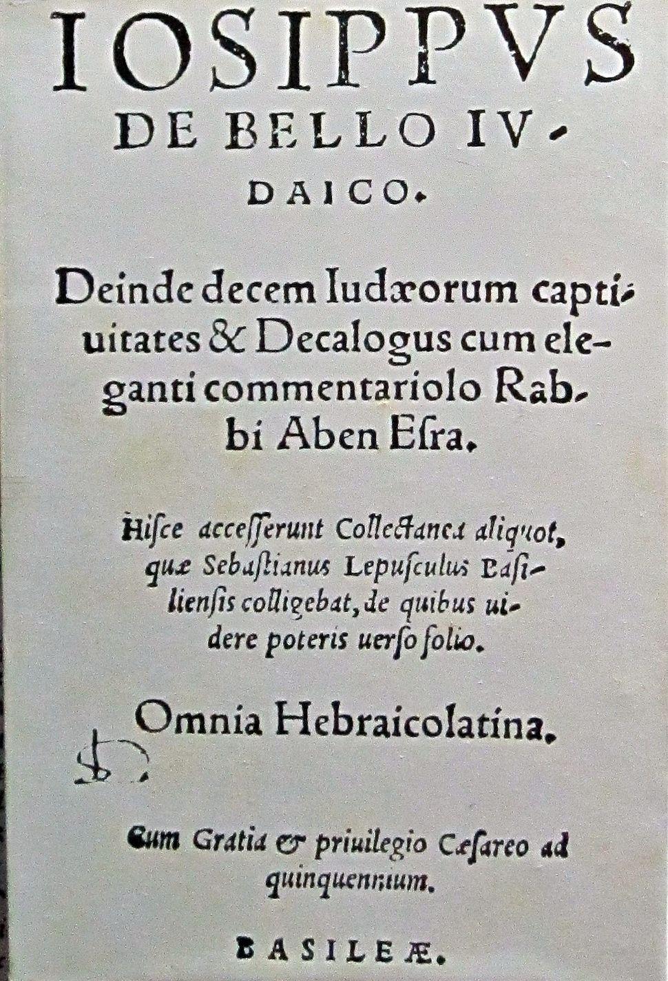 Jewish war, josephus flavius 1559