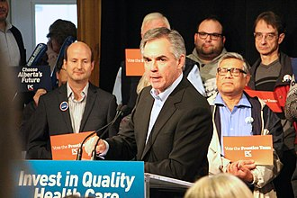 Progressive Conservative Association of Alberta - Jim Prentice at a campaign stop at the Whitemud Creek Community Centre in Edmonton during the 2015 provincial election