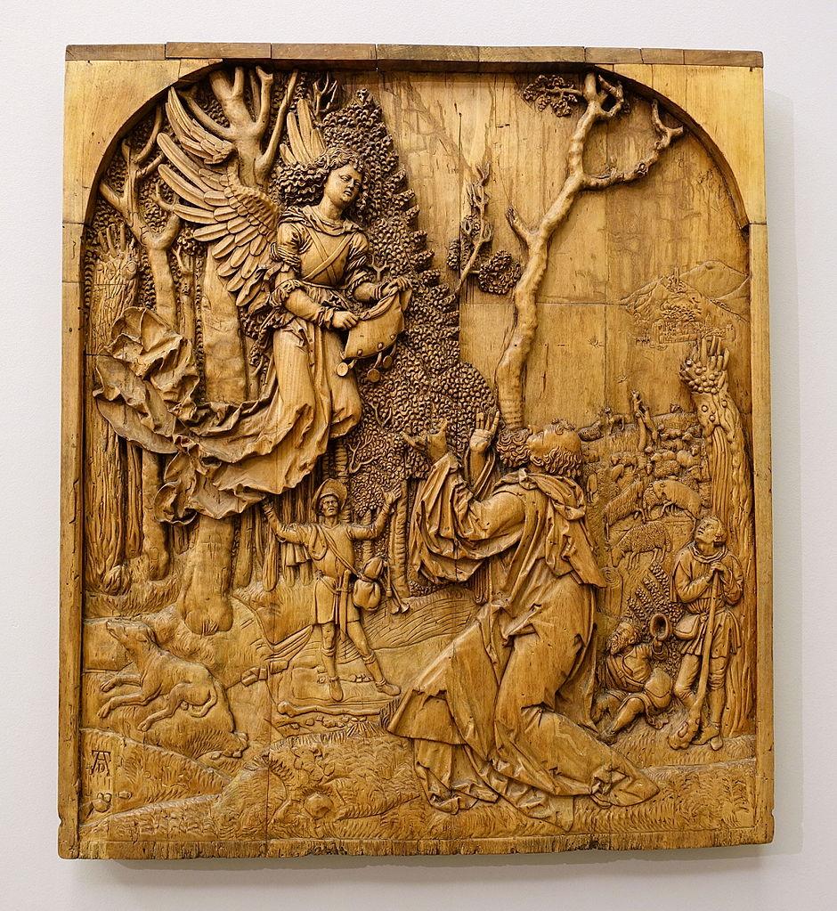 Joachim le père de Marie reçoit la visite d'un ange d'après Durer (vers 1515).