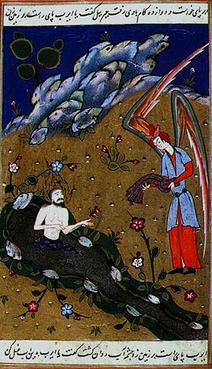 Job in Islam - Job Persian miniature from a collection of Stories of the Prophets