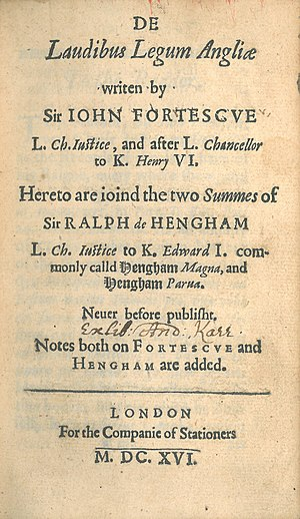 John Fortescue (judge) - Image: John Fortescue, De Laudibus Legum Angliae (1st ed, 1616, title page)
