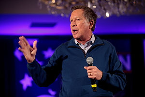 John Kasich presidential campaign, 2016 - Kasich speaking at a town hall in New Hampshire