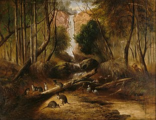 (Bush landscape with waterfall and an aborigine stalking ...