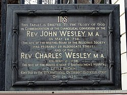 Photo of John Wesley and Charles Wesley black plaque