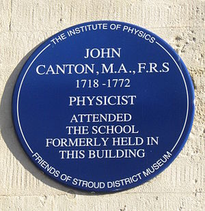 John Canton - Plaque to John Canton on the wall of the Old Town Hall in the Shambles, Stroud, Gloucestershire