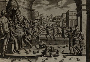 English: The Plague of Frogs, engraving publis...