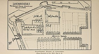History of Derry - Map of Derry in 1622, showing the Bishop of Derry's residence in the northwest.