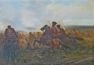Battle of Wörth - Charge of the Hussards of the Prussian Guard, painting by Jules van Imschoot