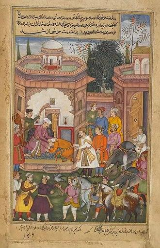 Chandrahasa - Image: KANHAR chandrahasa knee before king of kuntala