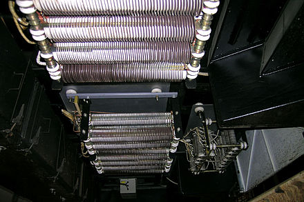 High-power wire wound resistors used for dynamic braking on an electric railway car. Such resistors may dissipate many kilowatts for an extended length of time. KTSU resistors.jpg