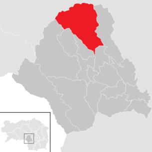 Lage der Gemeinde Kainach bei Voitsberg im Bezirk Voitsberg (anklickbare Karte)