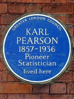 Karl pearson 1857 1936 pioneer statistician lived here