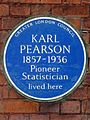Karl Pearson 1857-1936 Pioneer Statistician lived here.JPG