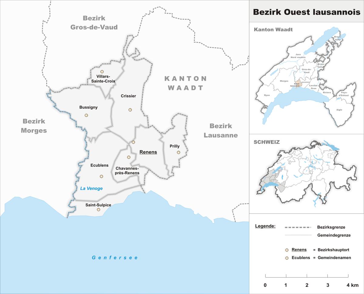 District de l 39 ouest lausannois wikip dia for Agence paysage de l ouest