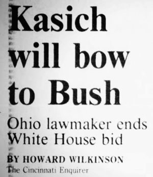 John Kasich presidential campaign, 2000 - Kasich dropped out of the race and endorsed Bush