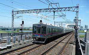 Keisei Oshiage Line - A Keisei 3500 series EMU on the Oshiage Line, July 2012