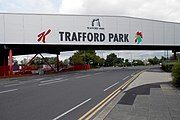 Trafford Park's southern entrance, marked by a bridge connecting Kellogg's manufacturing plant to its warehouse