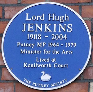 Hugh Jenkins, Baron Jenkins of Putney - Kenilworth Court blue plaque