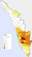 Kerala répartition des chrétiens 2011.png