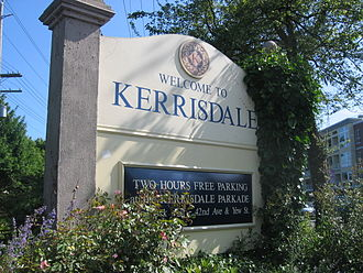 Kerrisdale - Welcome sign for the Kerrisdale shopping district, near 41st Avenue and West Boulevard