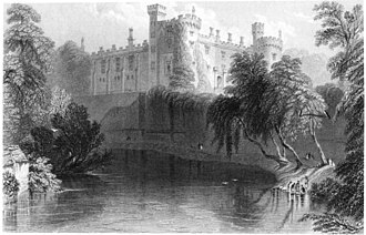 Kilkenny Castle - View from the river, 1841 by William Henry Bartlett