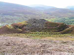Broch - The remains of Kilphedir broch, Sutherland, are surrounded by massive earthworks.