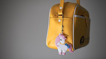 Kindergarten sling bag, with a unicorn pendant, April 2019 (01).jpg
