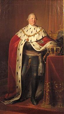 Bildnis König Friedrichs I. von Württemberg im Krönungsornat und Rüstung, Hofmaler Johann Baptist Seele (1774–1814), 1806, Öl auf Leinwand, 237 cm × 135,5 cm, Landesmuseum Württemberg, Stuttgart. (Quelle: Wikimedia)