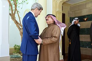 King Hamad of Bahrain Greets Secretary Kerry Before Meeting Amid Egyptian Development Conference